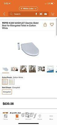 Brand New Toto K300 Washlet Electric Bidet Seat For Elongated Toilet White