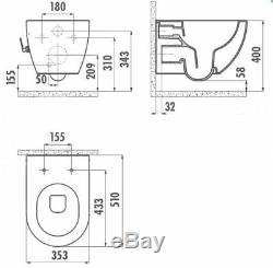 Creavit Cappuccino Wall Hung Mounted Combined Bidet Toilet Pan wc seat