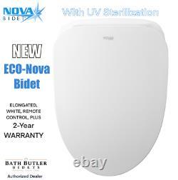Eco-NOVA Luxury Bidet Seat, UV Sterilization, Elongated, White, RF Remote