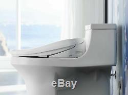 KOHLER K-8298-0 C3 155 Elongated Warm Water Bidet Toilet Seat, White