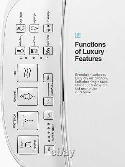 Smart Bidet Toilet Seat Electric Automatic Elongated Heated White Smart Control